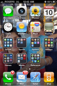 iPhone 4 home screen with stacks